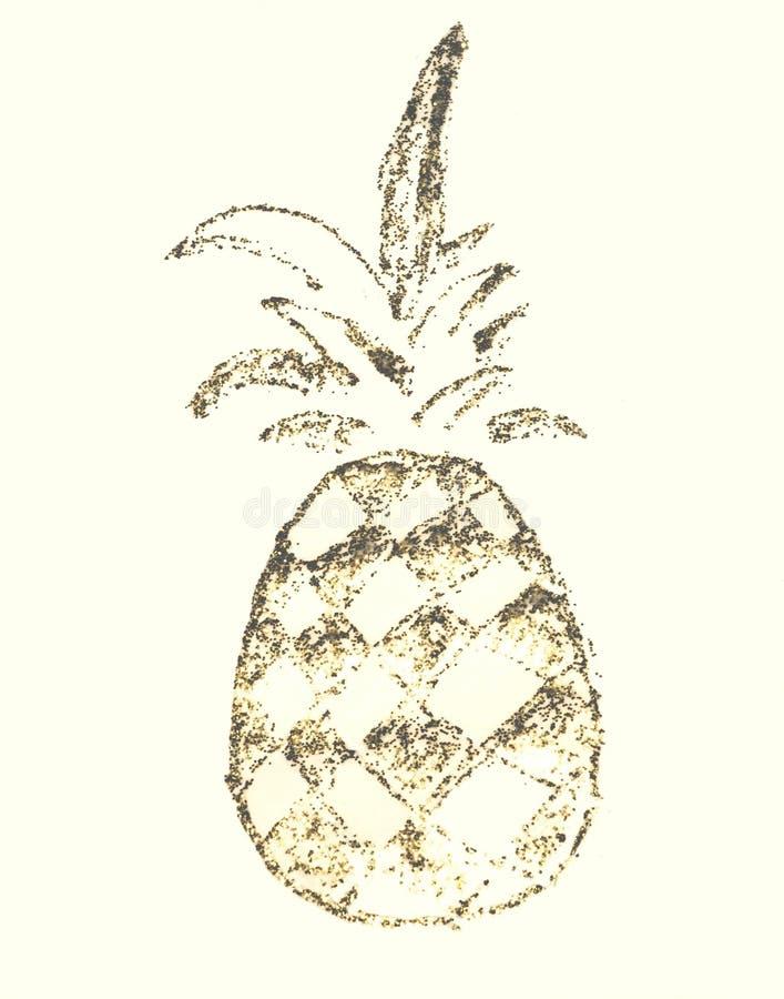 Bakgrund med att blänka ananas på papper i nostalgiska färger som göras med guld-, blänker royaltyfri illustrationer