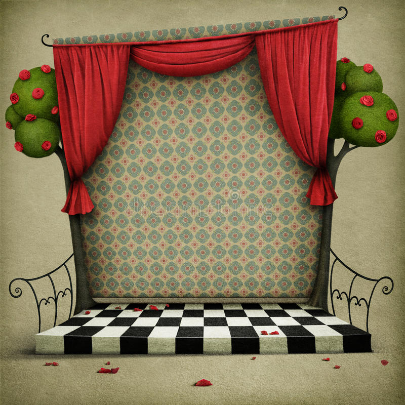 Bakgrund med beståndsdelar av sagan Alice i underland vektor illustrationer