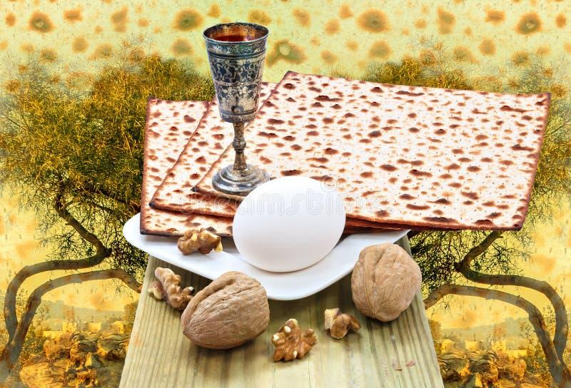 Bakgrund med bibliska motiv av heliga kullar av Jerusalem och traditionell påskhögtidmat för påskhögtid royaltyfria foton