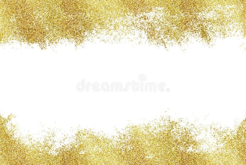 Bakgrund med blänker guld- horisontal, inramar och gör mellanslag för text Blänka garnering, den guld- dammmallen för jul och b stock illustrationer
