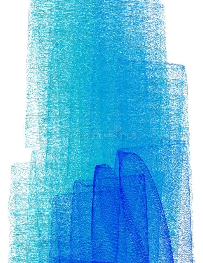 Bakgrund med blå subtil skuggning vid tunna krabba linjer vektor vektor illustrationer