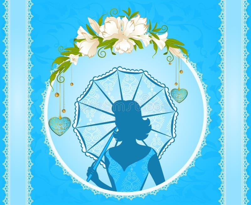 Bakgrund med blommor och flickor stock illustrationer