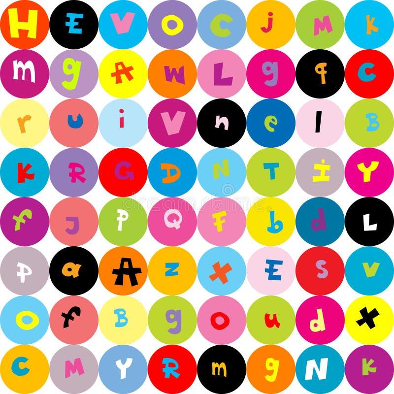 Bakgrund med bokstäver, seamless modell för ungar vektor illustrationer