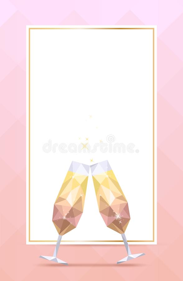 Bakgrund med champagneexponeringsglas och den guld- ramen vektor illustrationer