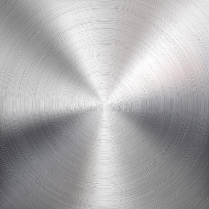 Bakgrund med cirkuläret belägger med metall borstat texturerar stock illustrationer