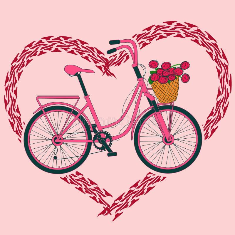Bakgrund med cykeln och hjärta som göras av gummihjulspår royaltyfri illustrationer