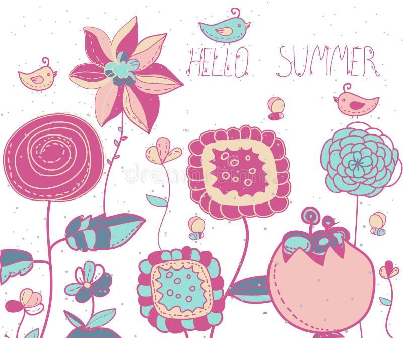 bakgrund med dekorativt blommor och fåglar och bin och märka Hellosommar royaltyfri illustrationer