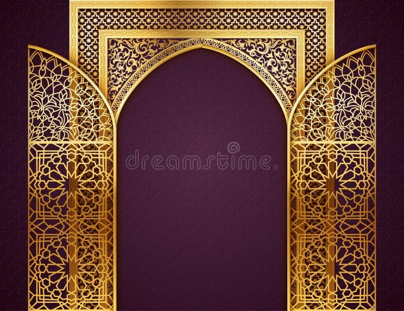 Bakgrund med den öppnade arabiska modellen för dörrar stock illustrationer