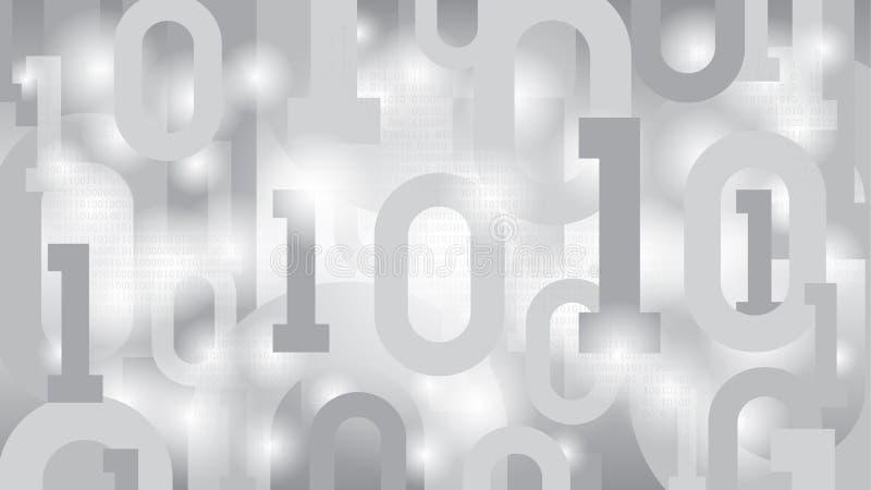 Bakgrund med den binära koden, digital kod i abstrakt futuristisk matriscyberspace, fördunklar det nerv- nätverket för stora data stock illustrationer