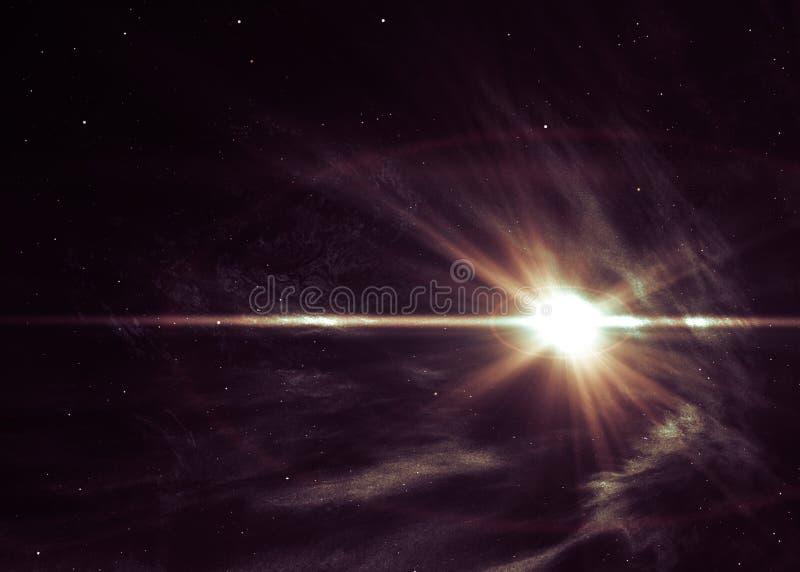 Bakgrund med den glänsande stjärnan i utrymme royaltyfri illustrationer
