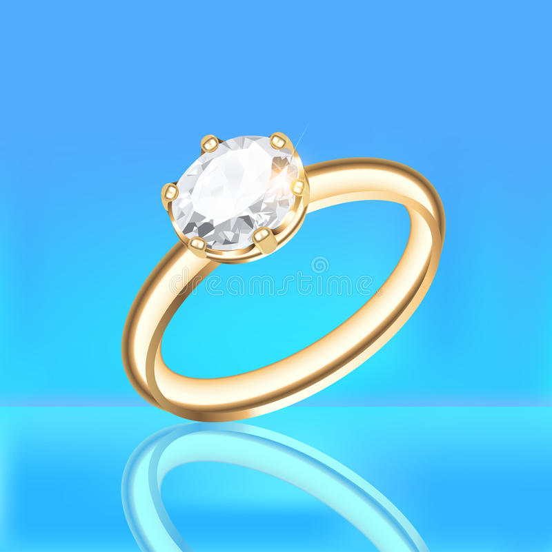 Bakgrund med den guld- diamantcirkeln på en blå bakgrund royaltyfri illustrationer
