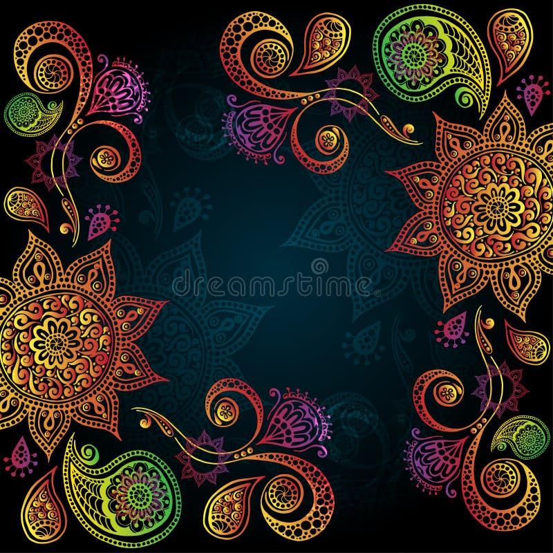 Bakgrund med den indiska prydnaden och mandalaen stock illustrationer