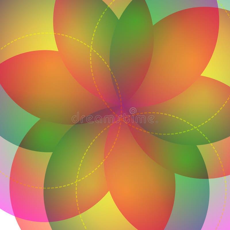 Bakgrund med den ljusa geometriska blomman Spektral- ljus för flöde royaltyfri illustrationer