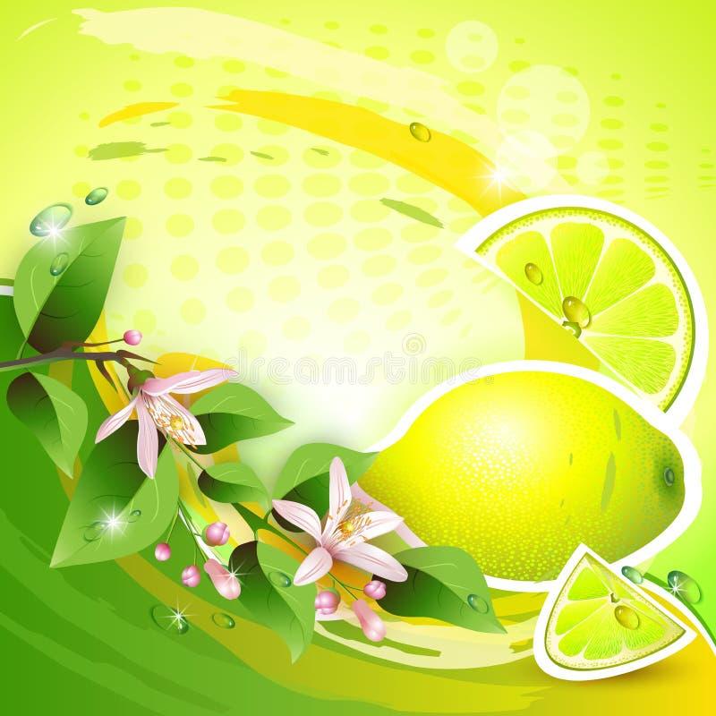 Bakgrund med den nya citronen royaltyfri illustrationer