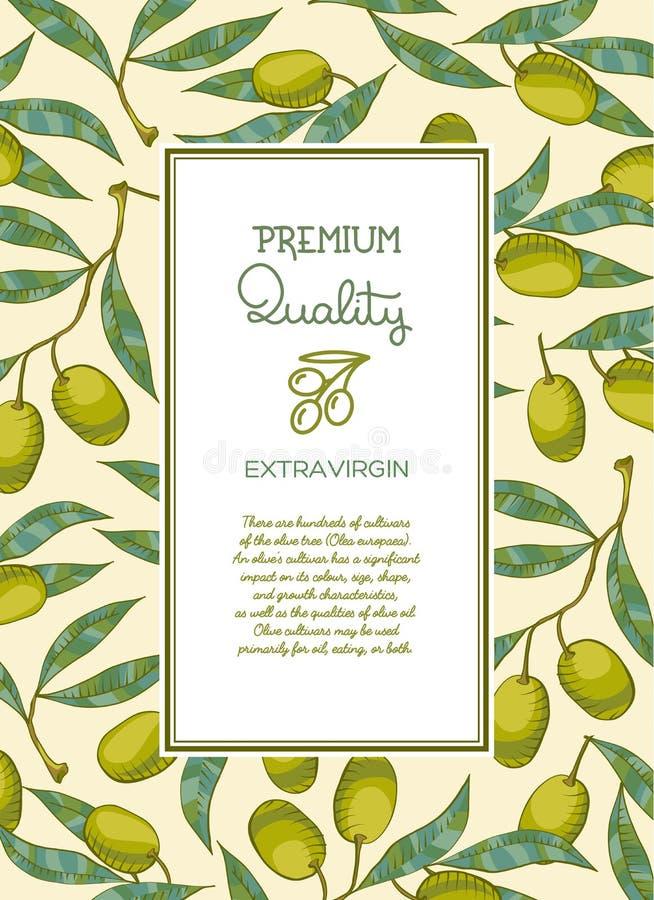 Bakgrund med den olivgröna filialen stock illustrationer