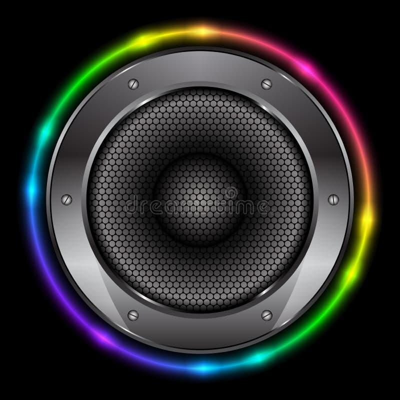Bakgrund med den Sound högtalaren stock illustrationer