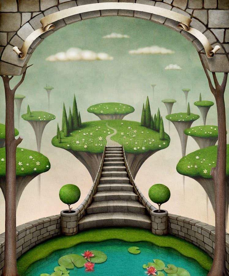 Sagolik ö med stegen vektor illustrationer
