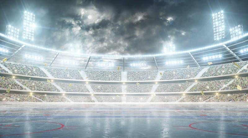 Bakgrund med det tomma funktionskortet för din text Ishockeyarena Nattstadion under månen med ljus, fans och flaggor stock illustrationer