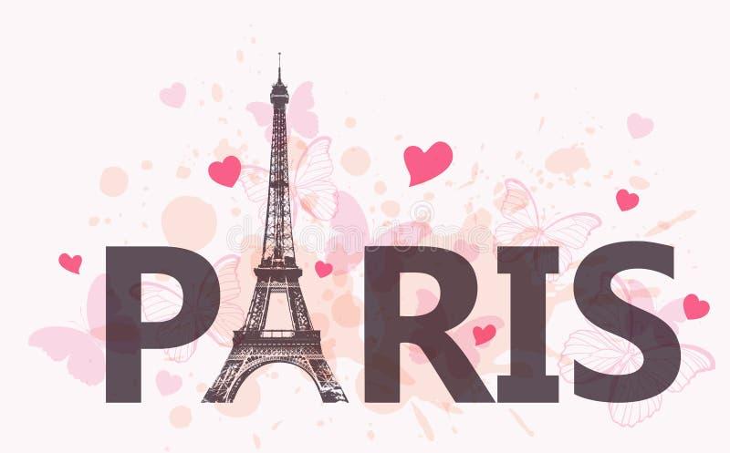 Bakgrund med Eiffeltorn royaltyfri illustrationer