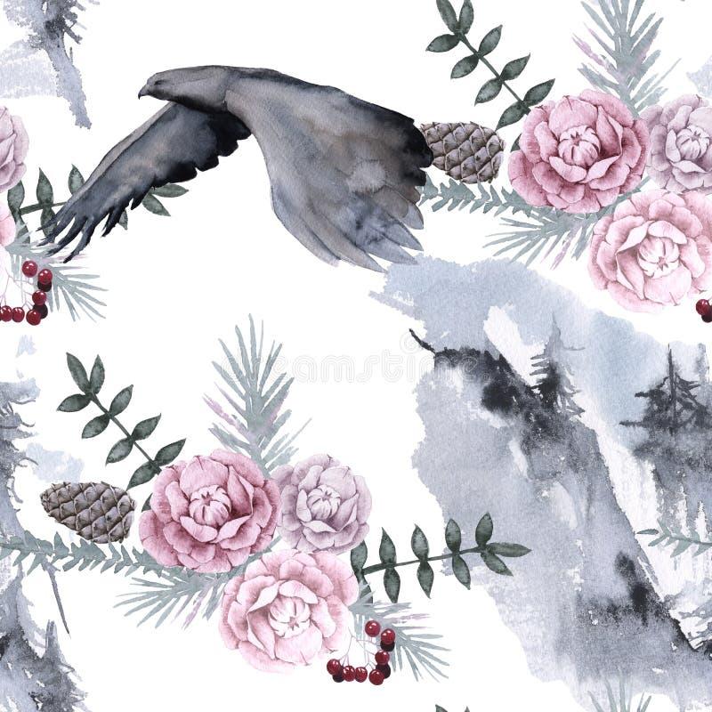 Bakgrund med en örn och Siberianväxter seamless modell stock illustrationer