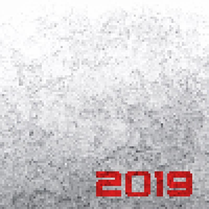 Bakgrund med en BW PIXEL och med en röd inskrift 2019 Vec vektor illustrationer