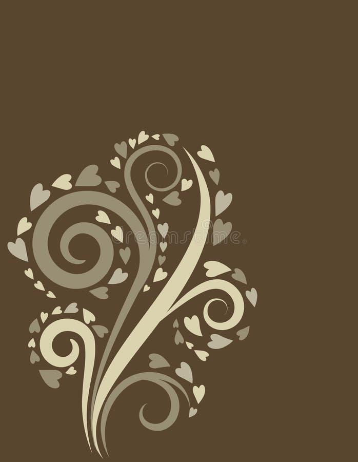 Bakgrund med en dekorativ tree för swirl vektor illustrationer