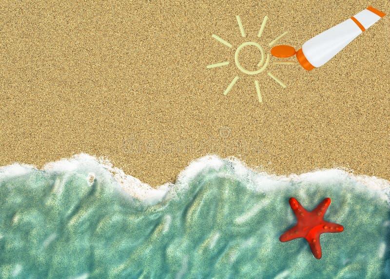 Bakgrund med en fodra av havet bevattnar stock illustrationer