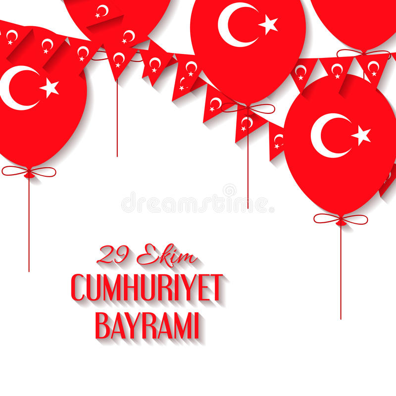 Bakgrund med en girland från turkflaggor, ballongvektorillustration och en inskrift i turk vektor illustrationer