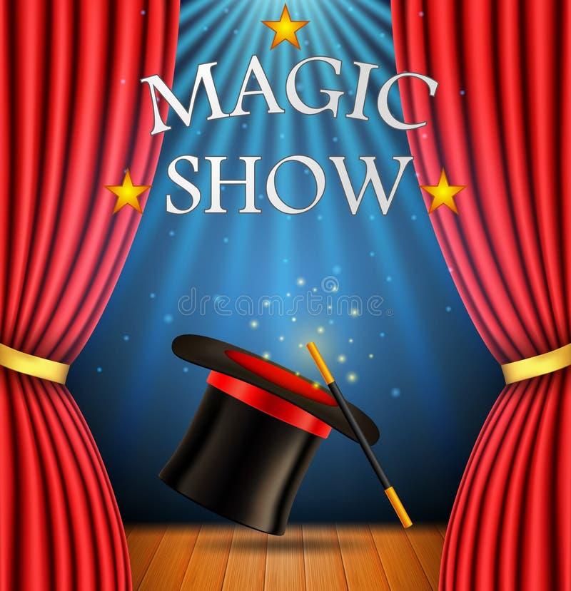 Bakgrund med en röd gardin och en strålkastare med den realistiska magiska hatten med trollspöet för magisk show royaltyfri illustrationer