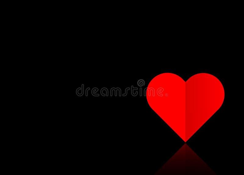 Bakgrund med en röd pappers- volymhjärta in i ett utklipp, valentin dagbegrepp som är upplagt för förälskelse, svart vektor som i stock illustrationer