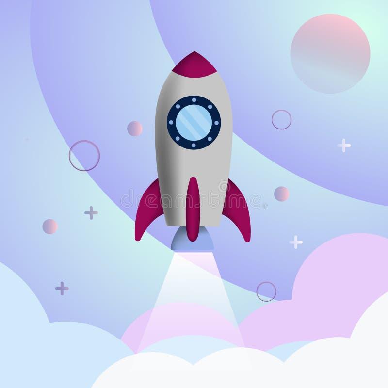 Bakgrund med en raket för ett affärsprojekt stock illustrationer
