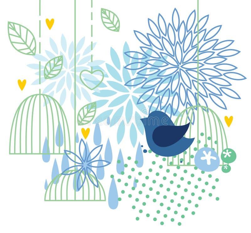 Bakgrund med fågeln och buren vektor illustrationer