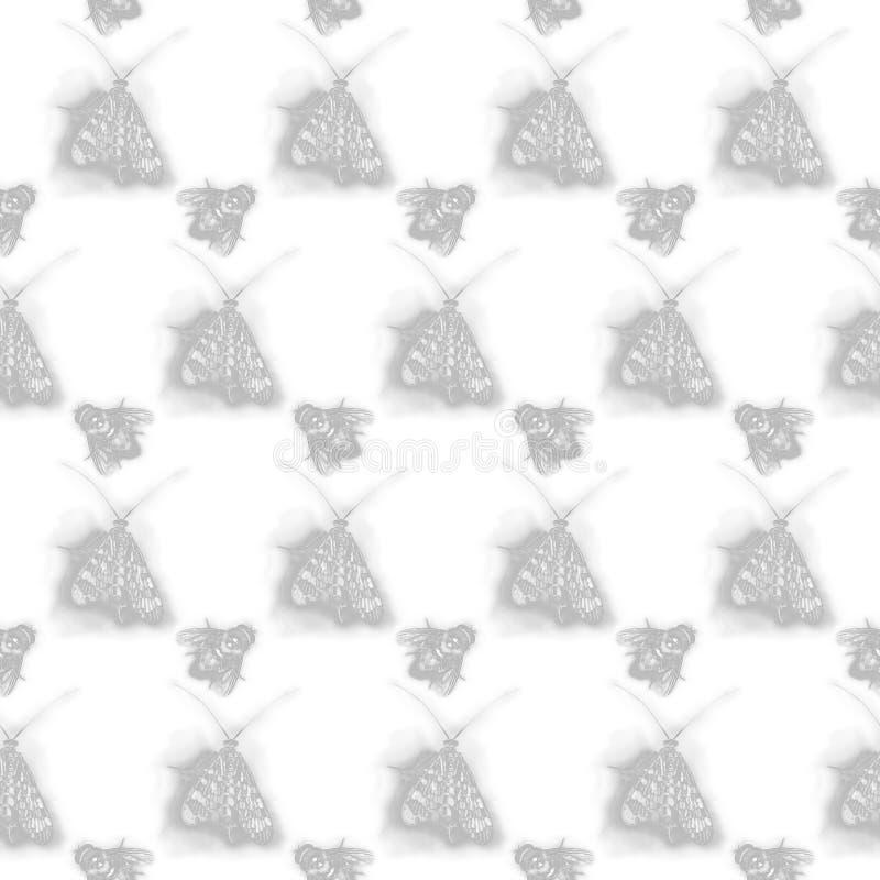 Bakgrund med flugor och fjärilar vektor illustrationer