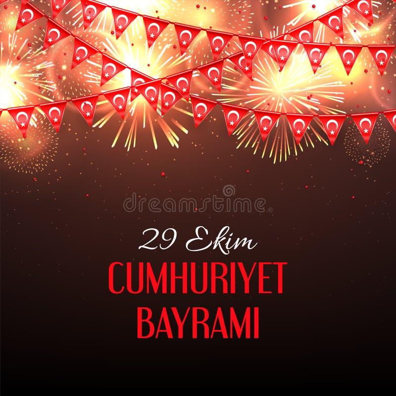 Bakgrund med fyrverkerier och med en girland från turkisk flaggavektorillustration och en inskrift i turk vektor illustrationer