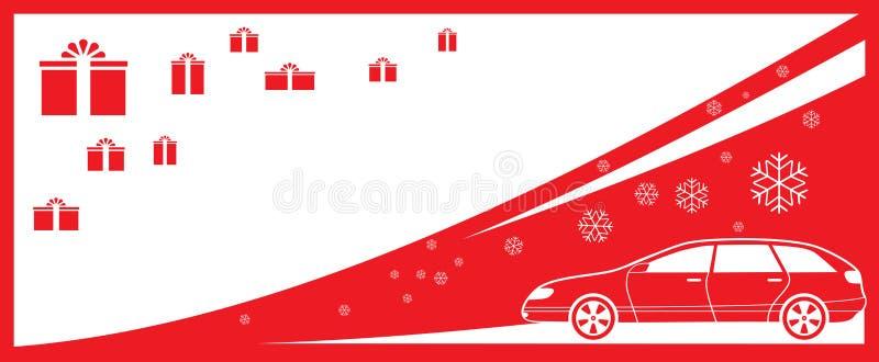 Bakgrund med gåvor, bilen och snöflingan - bil dis vektor illustrationer