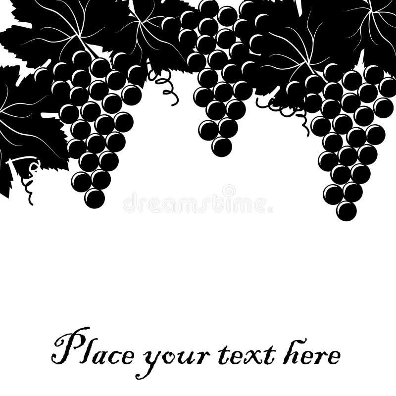 Bakgrund med gruppen av druvor och stället för din text royaltyfri illustrationer