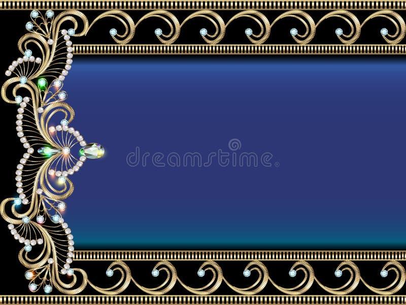 bakgrund med guld- prydnader med dyrbar ston stock illustrationer