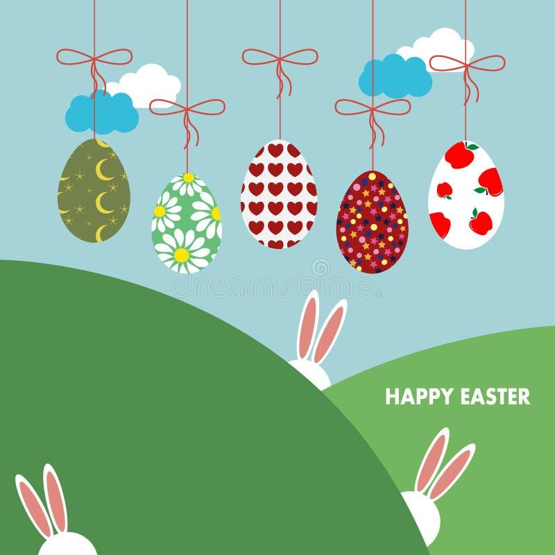 Bakgrund med hängande ägg, kaniner och landskap royaltyfri illustrationer