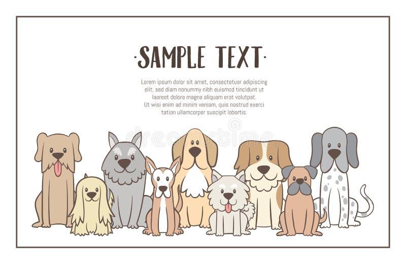 Bakgrund med hand dragen hundkapplöpning royaltyfri illustrationer