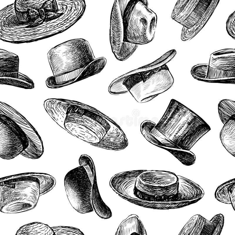 Bakgrund med hattar vektor illustrationer