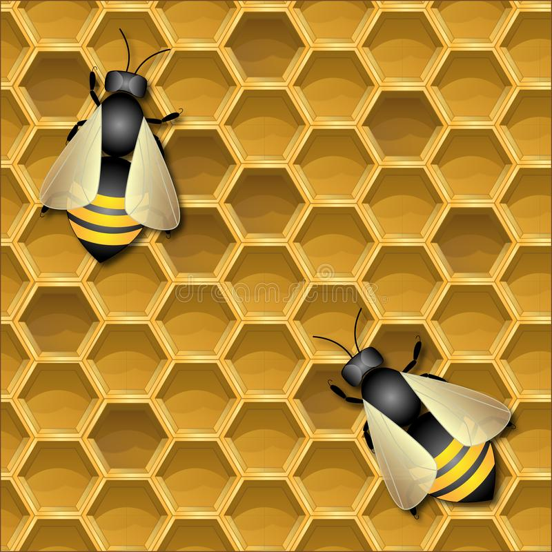 Bakgrund med honungskakor och bin royaltyfri illustrationer