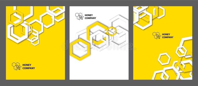 Bakgrund med honungskakor Ställ in av templats för räkningar, reklamblad, baner och affischer stock illustrationer