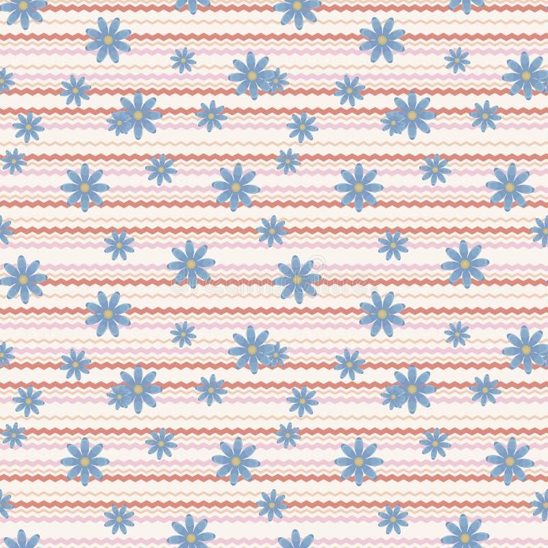 Bakgrund med horisontalkrabba rosa färger och röda linjer och modellen för textur för blåttblommor den sömlösa royaltyfri illustrationer