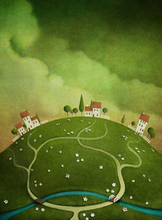 Bakgrund med hus på kullen. stock illustrationer