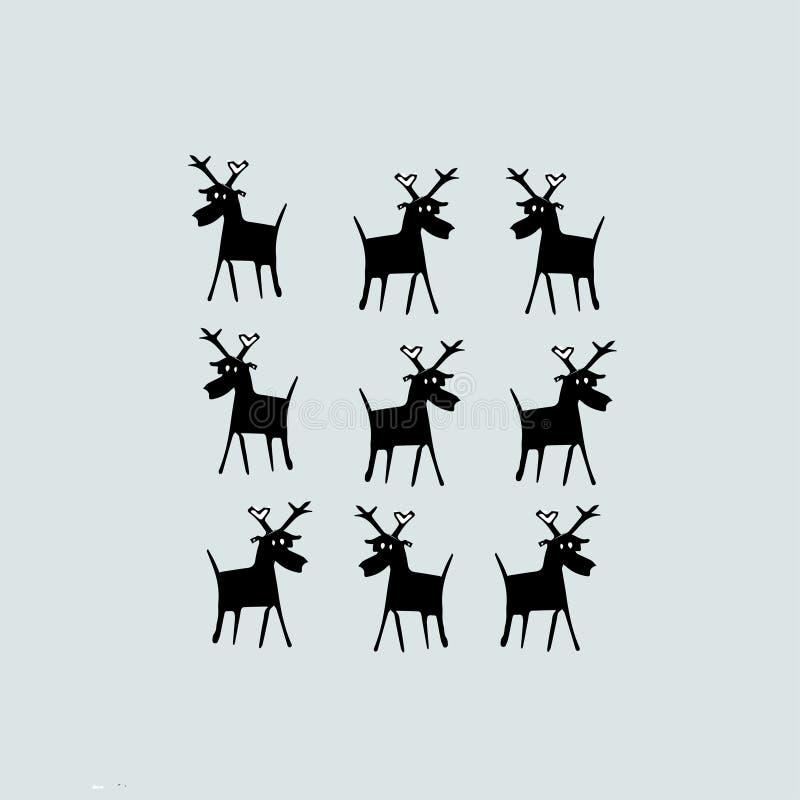 Bakgrund med id?rika hjortar vektor illustrationer