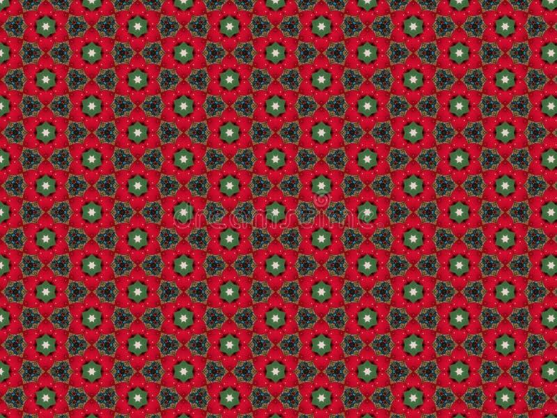 Bakgrund med jordgubbar i klädde med filt röda kronblad och gröna sidor och en modell av blåa och guld- och röda pärlor vektor illustrationer
