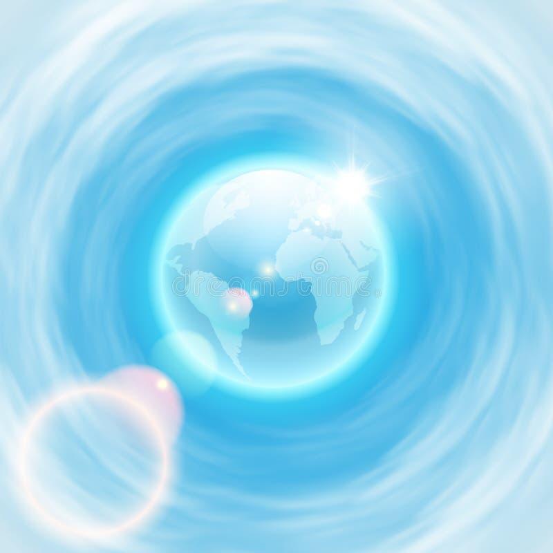 Bakgrund med jordklotet och brighsolen med linssignalljuset royaltyfri illustrationer