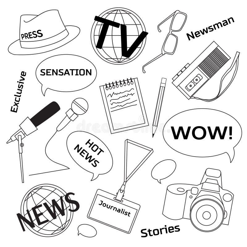Bakgrund med journalistiksymboler vektor illustrationer