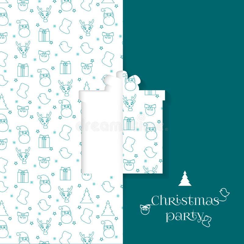 Bakgrund med julsymbolmodellen För hälsningkort för jul och för nytt år mallar - gåva royaltyfri illustrationer