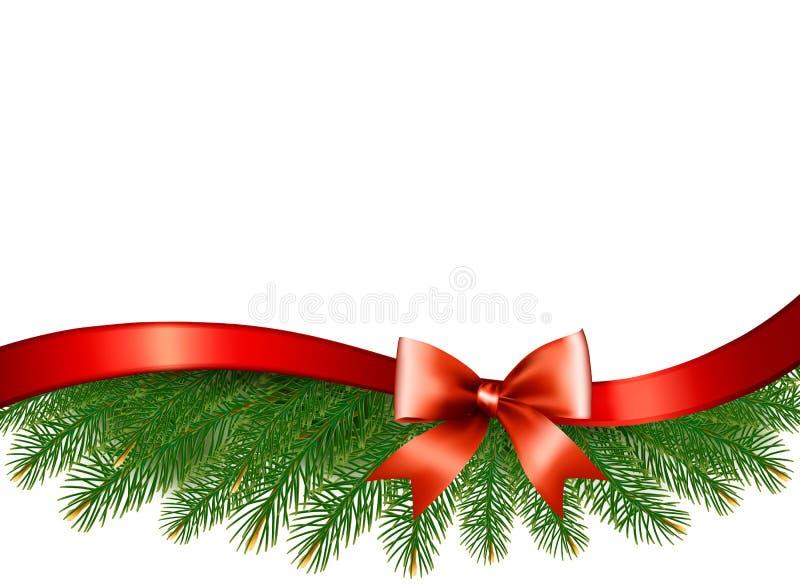 Bakgrund med julträdfilialer och ett rött band royaltyfri illustrationer